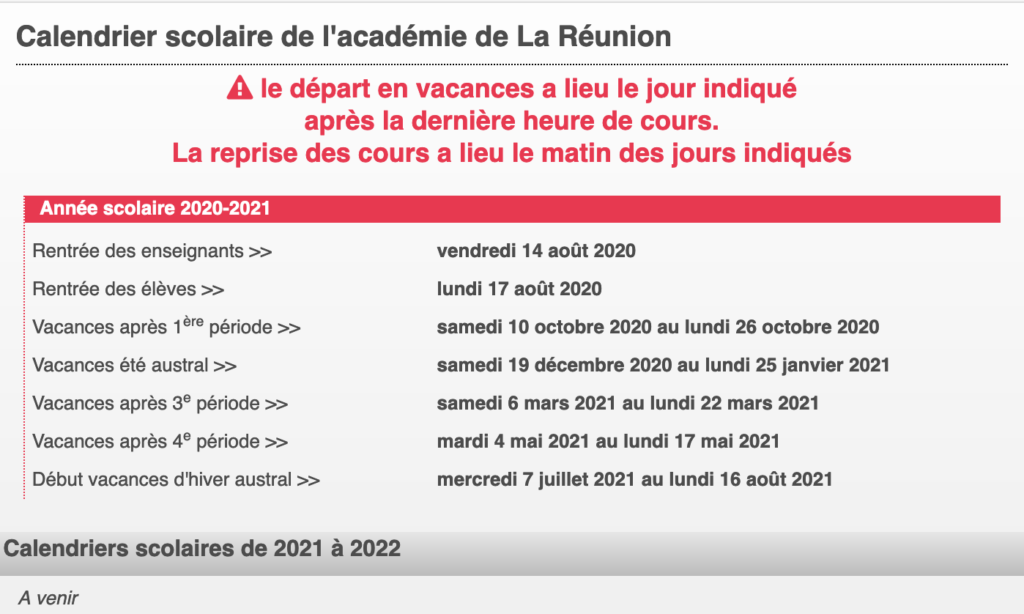 Calendrier Scolaire – Semaines A/B